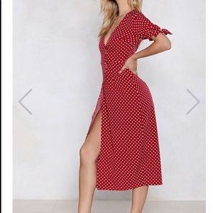 Nasty Gal Red Polka Dot Midi Dress - Size 6
